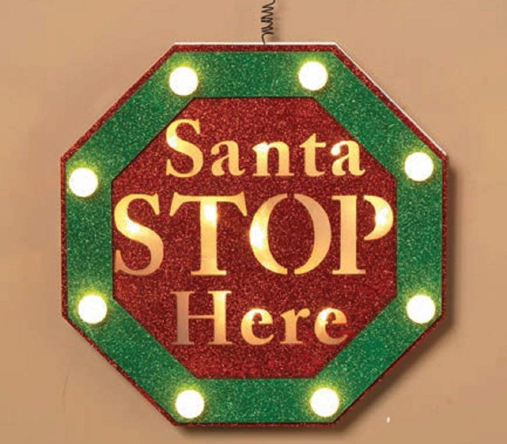 "Gerson Lighted Wood ""Santa STOP Here"" Stop Sign"
