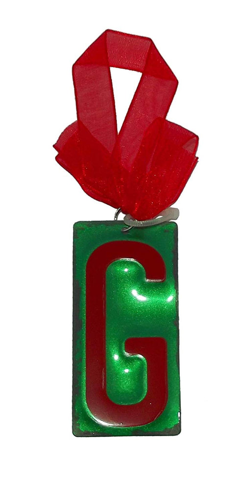 "GANZ Red Initial License Plate Christmas Ornament - Letter ""G"""