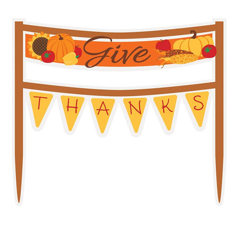 Give Thanks Thanksgiving Cake Bunting Topper