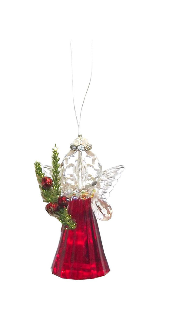 G Ganz Red and Green Glittered Acrylic Angel Ornament, 3 X 2 X 1.5 inches (Mistletoe)