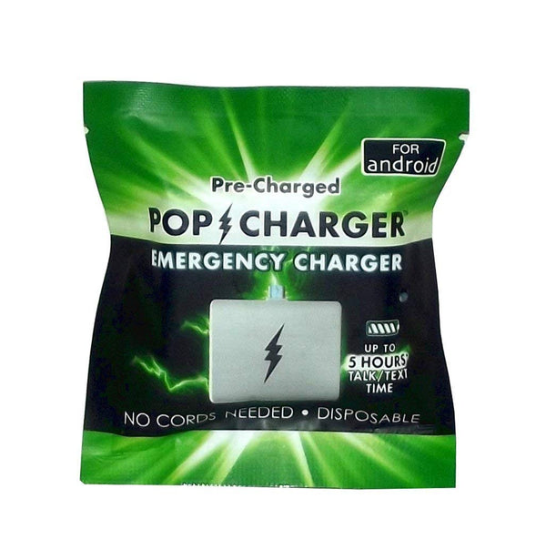 Pop Charger Pre-charged Disposable Emergency Charger (Android), Pack of 4