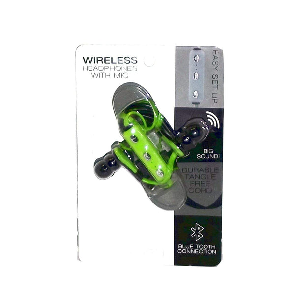 Tech Zone Wireless Earbud Headphones with Mic, Green