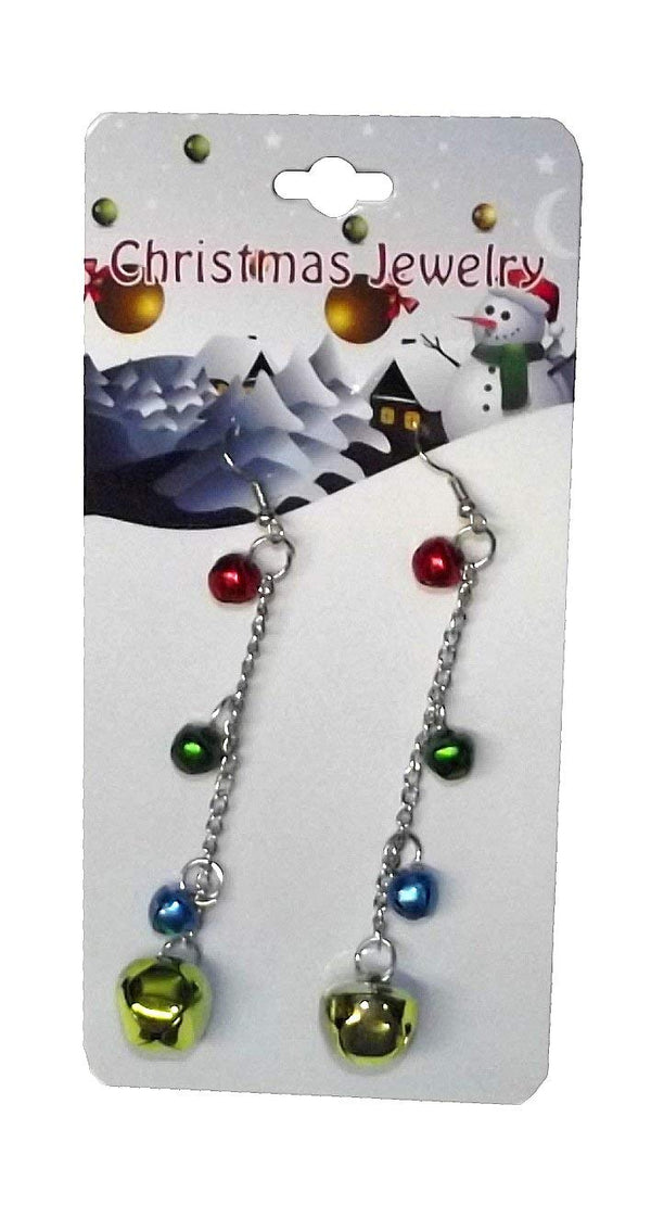 Christmas Jingle Bell Jewelry Earrings Assorted-Choices may vary