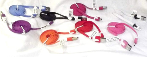 Micro USB Flat Cord ASSORTED---CHOICES MAY VARY