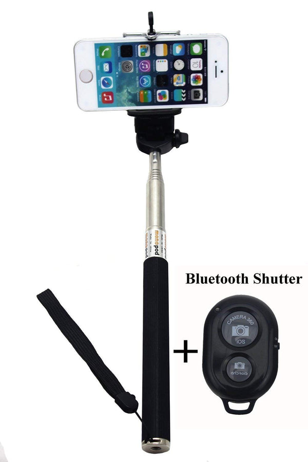 Selfie stick For Any Smart Phone - Bluetooth Wireless Extendable Camera Monopod in Black Color