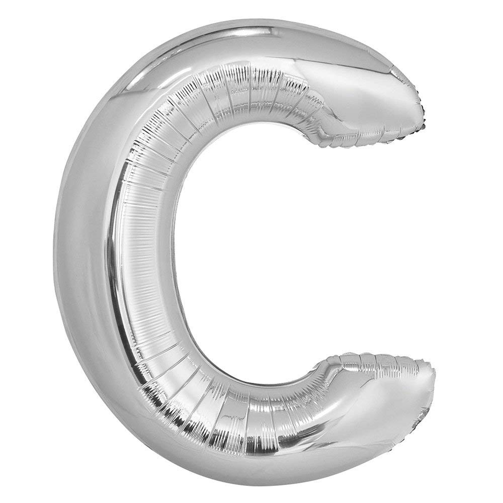 34 Inch Giant Helium Foil Mylar Letter Balloons, Glossy Silver, Letter C
