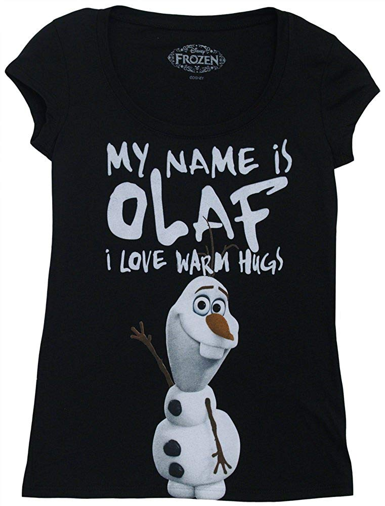 """My Name Is Olaf..."" -- Disney Frozen Crop Sleeve Fitted Juniors T-Shirt"