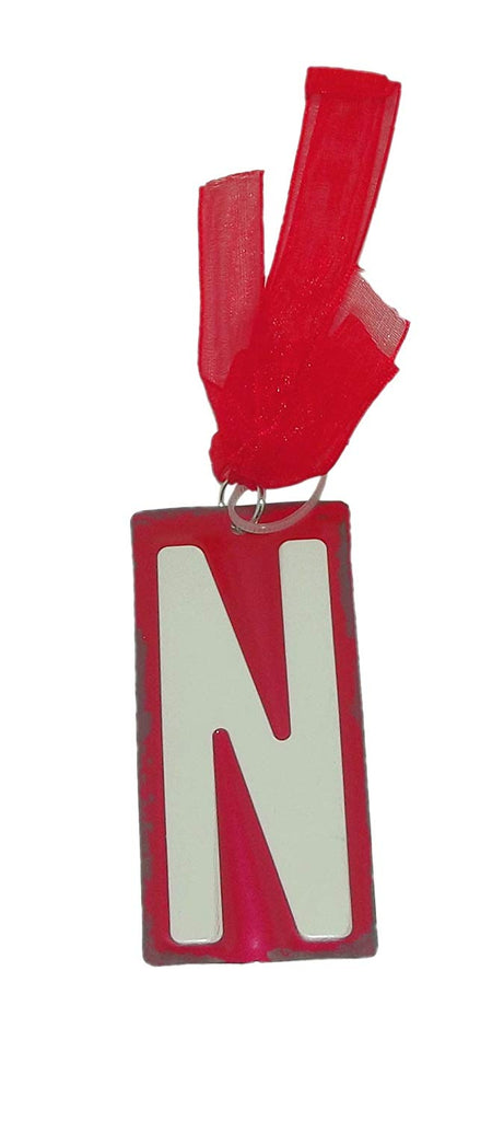 "GANZ White Initial License Plate Christmas Ornament - Letter ""N"""