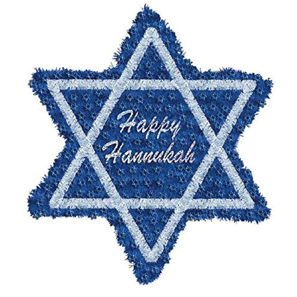 "Amscan Joyous Hanukkah Festival Star of David Hanging Decoration, Blue, Tinsel, 20 1/2"", Pack of 1 Party Supplies"