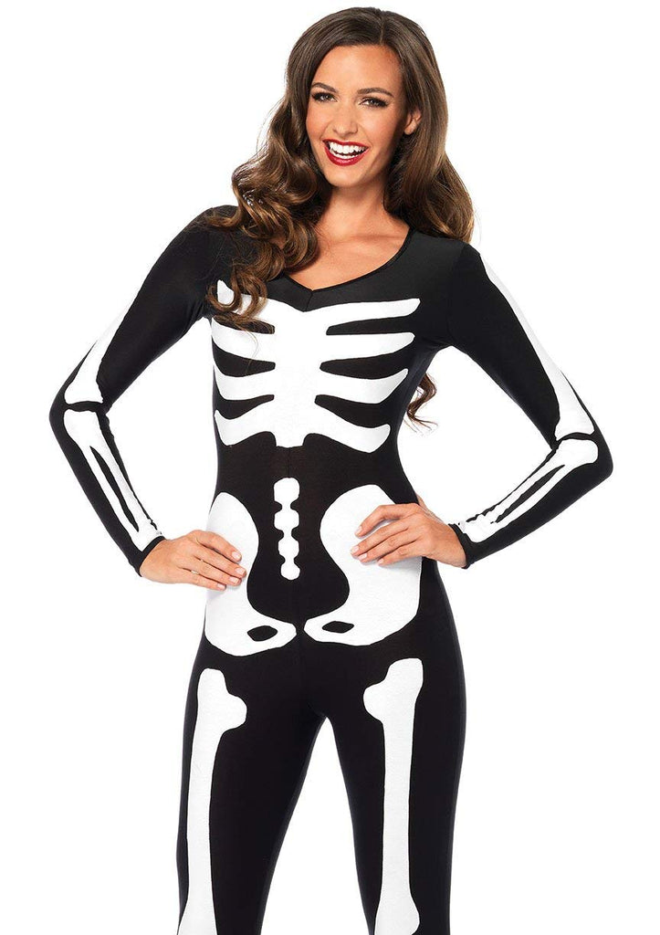 Leg Avenue Women's Spandex Printed Glow-In-The-Dark Skeleton Catsuit