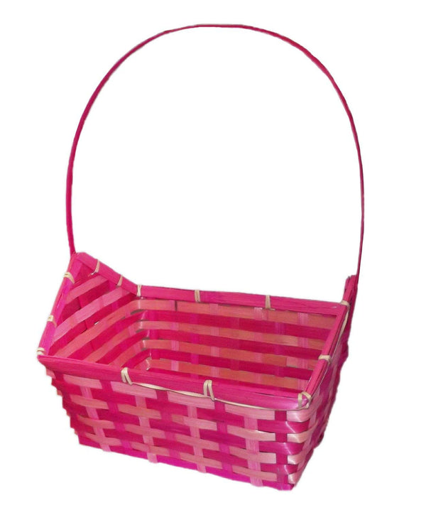 Easter Pink Rectangular Woven Basket with Handle 8 x 7.5 x 11 Inch