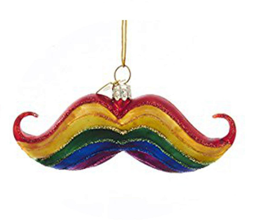 4in Glittery Rainbow Mustache Ornament