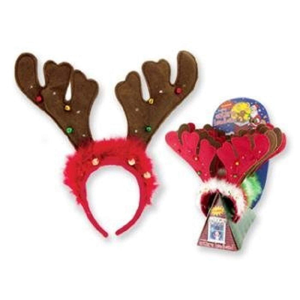 DM MERCHANDISING FLASHING REINDEER ANTLERS HEADBAND JINGLE BELLS ASSORTED COLORS VARY