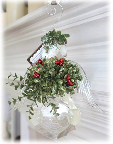 Kissing Krystals Acrylic Mistletoe Angel Hanging Ornament