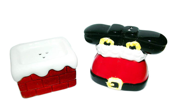 Santa in Chimney Stacking Salt and Pepper Shaker Set