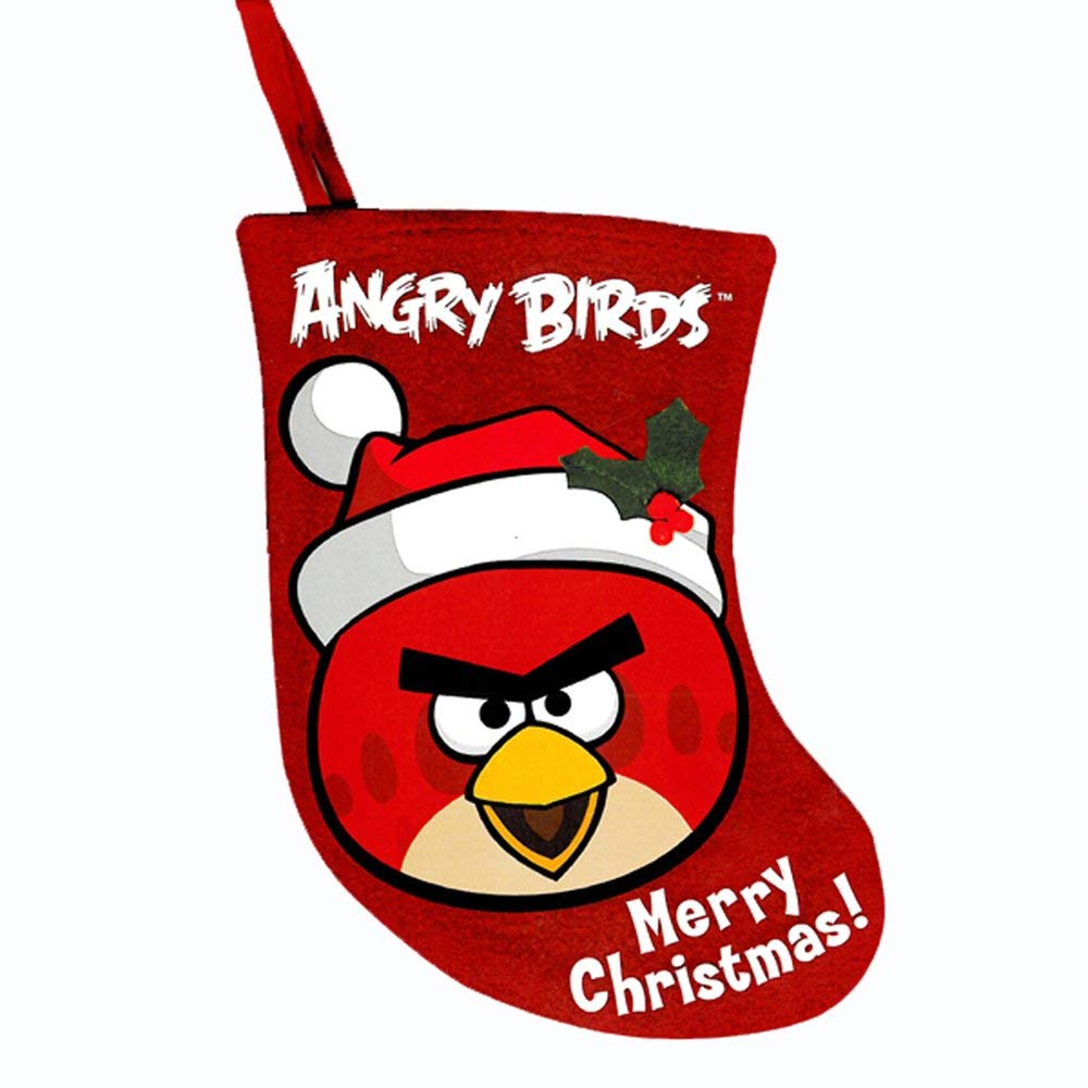 Kurt Adler Angry Birds 6.5 Red Bird Miniature Applique Stocking