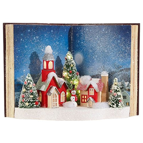 RAZ Snowy Lighted Christmas Scene Mock Pop-up Book Tabletop Display
