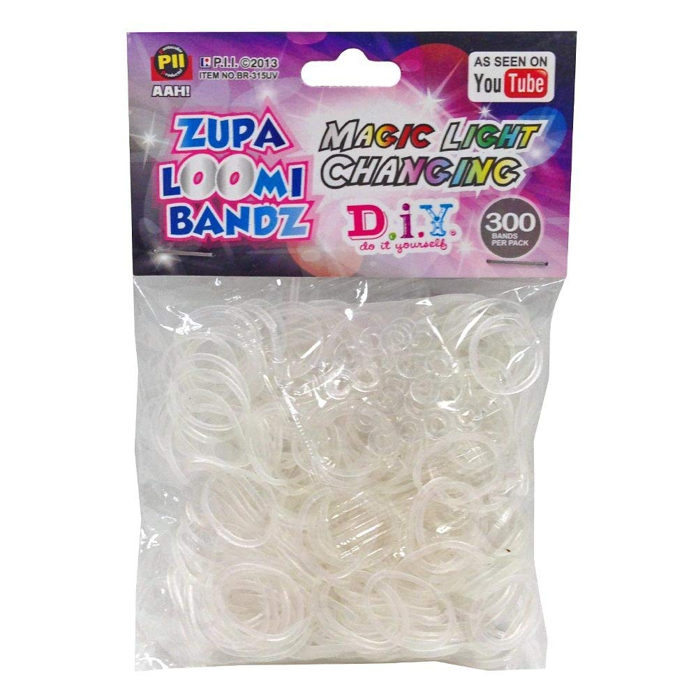 D.I.Y. Do it Yourself Bracelet Zupa Loomi Bandz 300 Magic Light Changing Rubber Bands with 'S' Clips