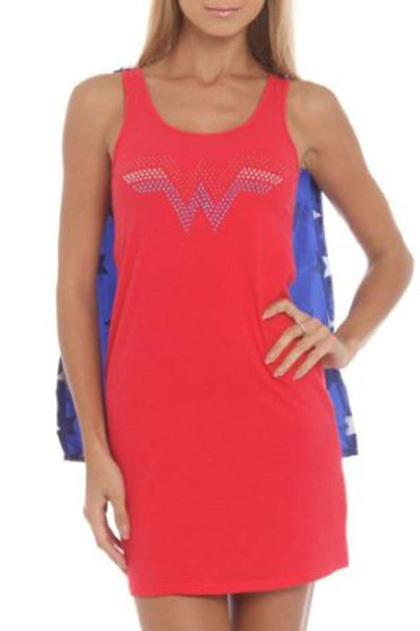WONDER WOMAN NAILHEAD LOGO SLEEP TANK WITH CAPE (MEDIUM)