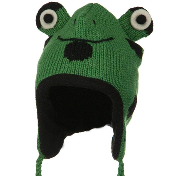 Adult Animal Wool Ski Beanie - Frog OSFM