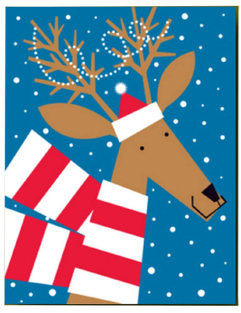 Christmas Deer With Scarf Christmas Holiday Cards, 10-Count