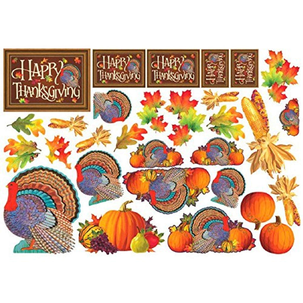"Colors of Autumn Thanksgiving Assorted Printed Cutouts Mega Value Pack Party Décor, Paper, 11""Pack of 30"