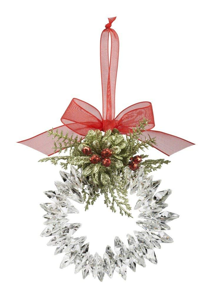 G Ganz Christmas Mistletoe Krystal Wreath Ornament 4 inches