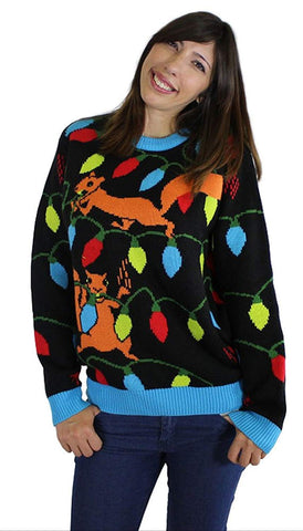 Squirrelly Christmas Lights Ugly Christmas Sweater- FunQi