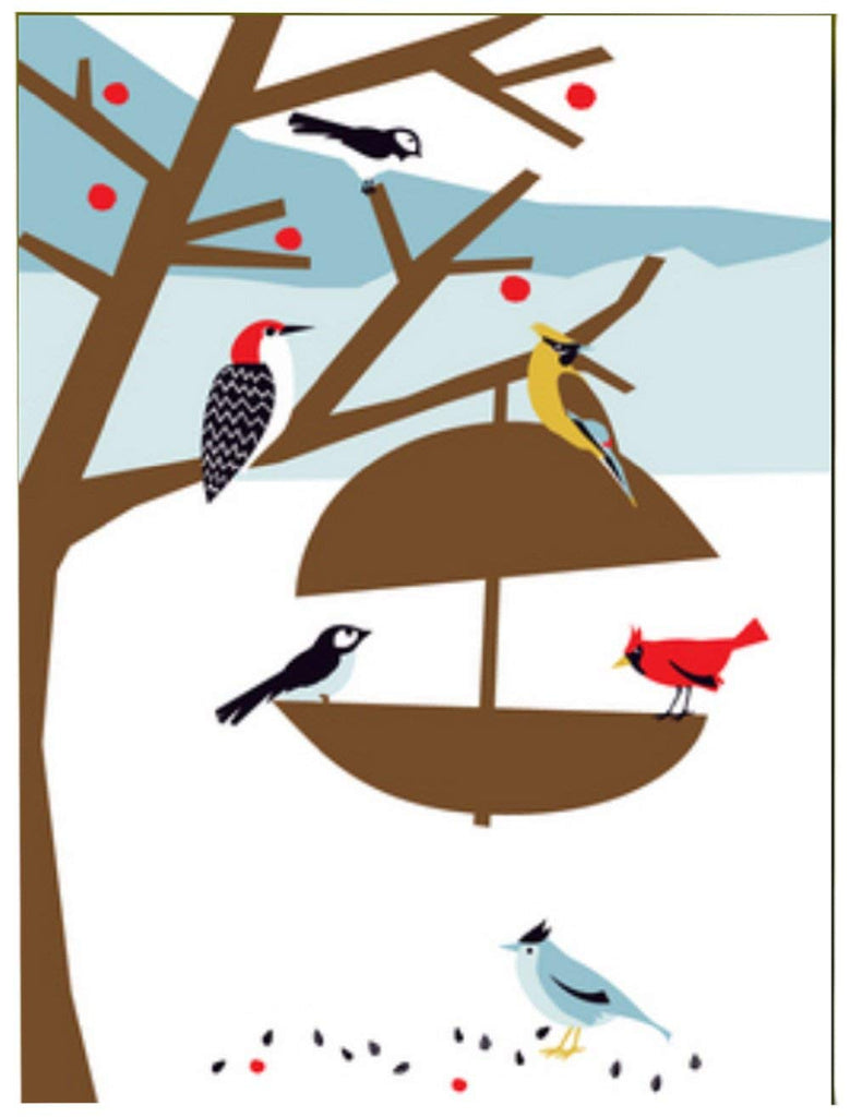Great Arrow Christmas Wintery Bird Feeder Christmas Boxed Cards-Set of 8
