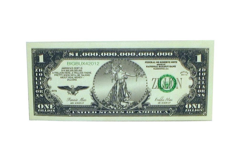 A Ross & Company One Zillion Dollars Novelty Dollar Bill, 25 count