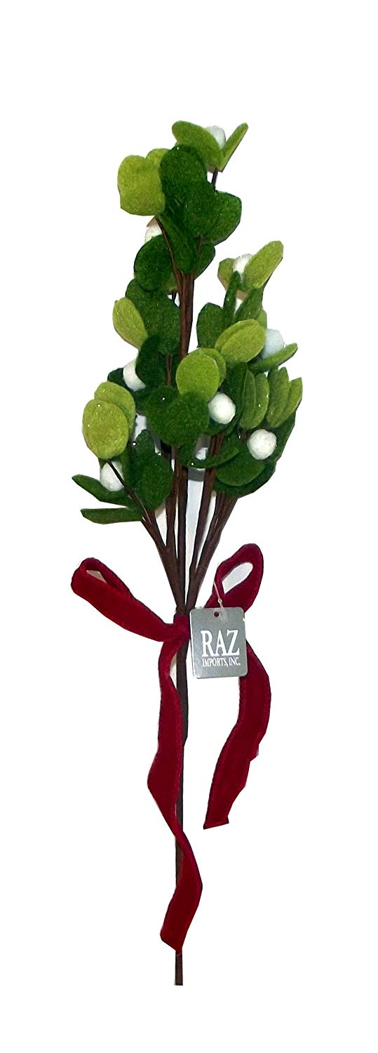 RAZ Imports Felt Artificial Mistletoe Holiday Decoration, 18 inches