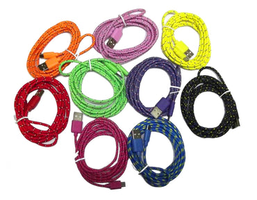 UNIVERSAL WOVEN USB CORD, 6 FT., ASSORTED, COLORS VARY