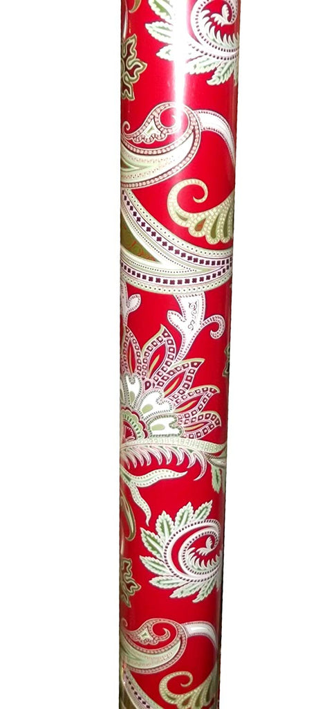 Christmas Print Paisley Red Jumbo Gift Wrap Roll