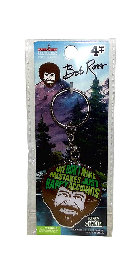 "Bob Ross""We Don't Make Mistakes Just Happy Accidents"" Metal Keychain, 4 inches"