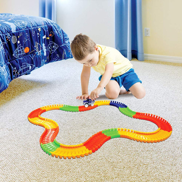 Total Value Glow Tracks Glow in the Dark Toy Car Track Set, 166 pieces