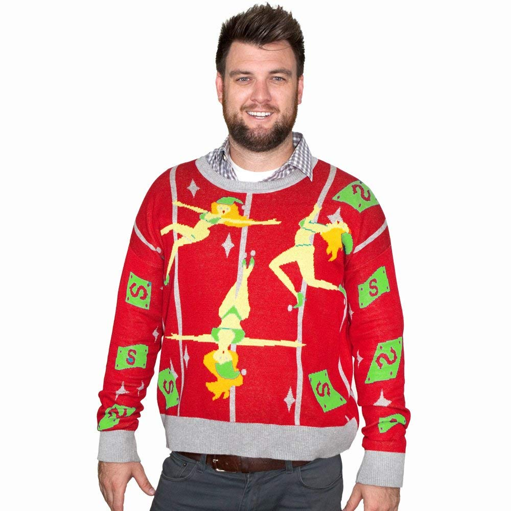 Pole Dancing Elves Ugly Christmas Sweater-FunQi, Red