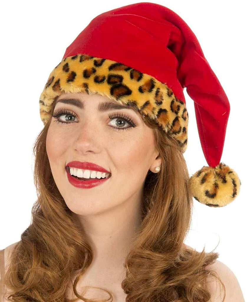Forum Novelties Women's Santa Hat with Leopard Trim