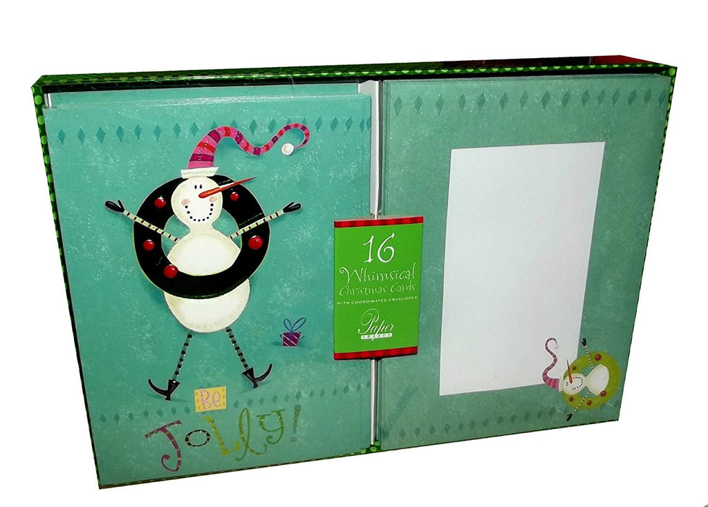 Christmas Whimsical Snowman Be Jolly Holiday Boxed Cards-Set of 16