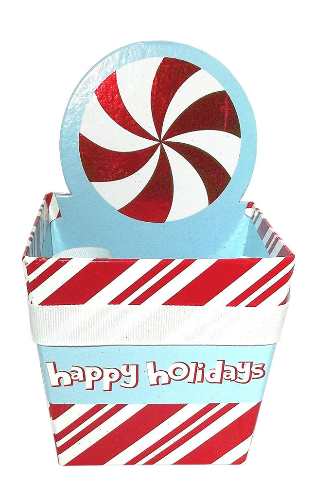 Christmas Diecut Square Pail Treat Box (Candy Cane)