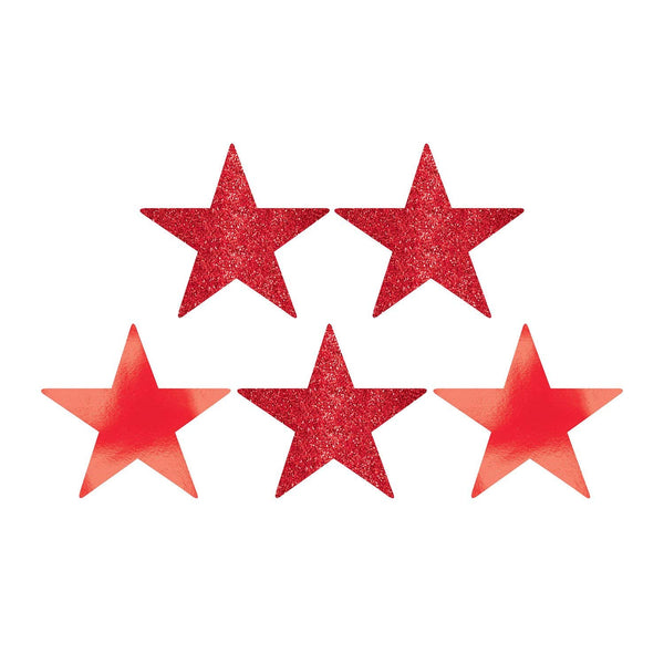 "Amscan 5"" Star Cutouts (5 CT) 5"" Children's Party Decorations (5), Apple Red"