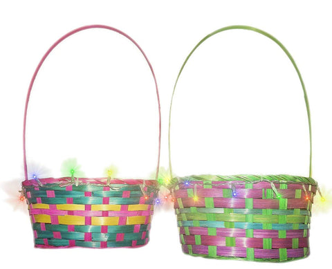 Easter Colorful Light-Up 7 x 4.5 x 10 Inch Basket, Assorted - Colors Vary