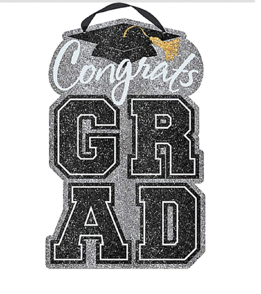 "Amscan Congrats Grad Large Silver Hanging Sign-20""x 12.25"""