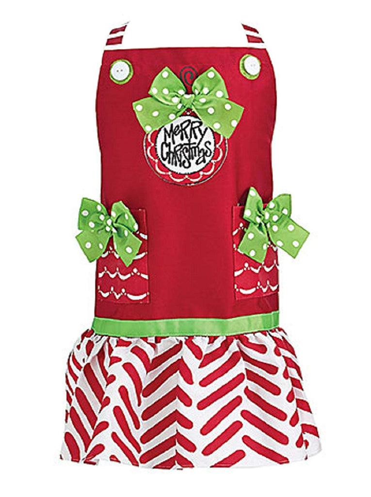"Christmas Holiday Child's Apron Red, Green, White ""Merry Christmas"" Message"