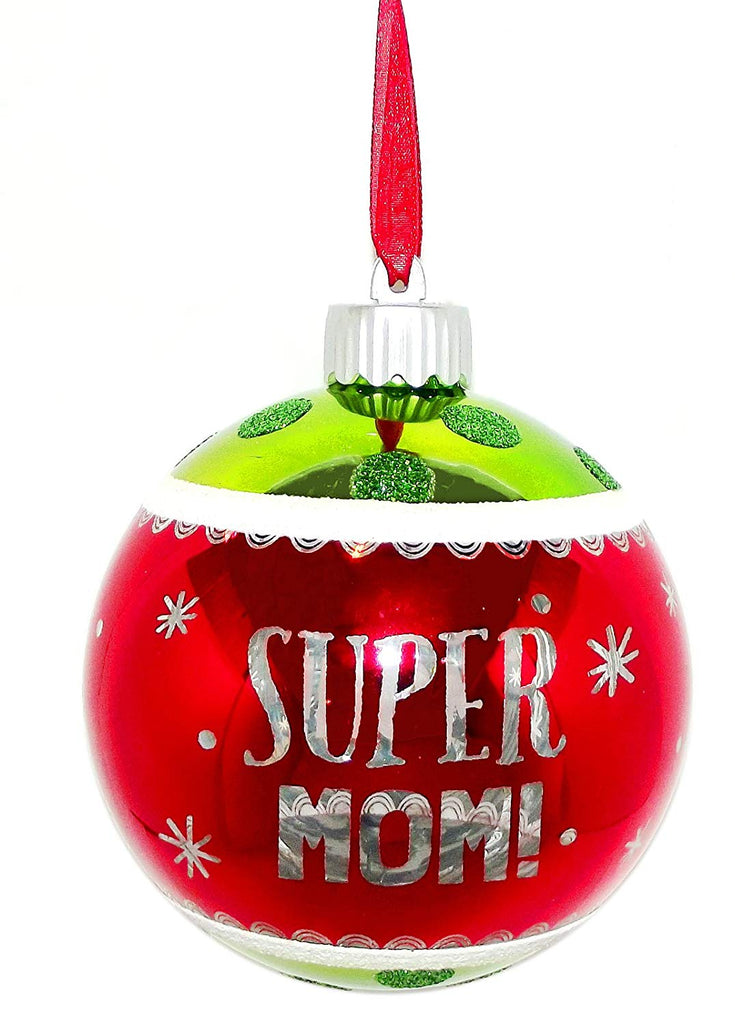 Super Mom Holiday Light-Up Ornament