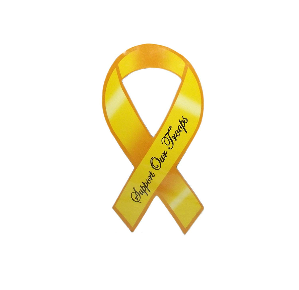 Patriotic USA Support Our Troops Ribbon Magnet-1 piece (Yellow)