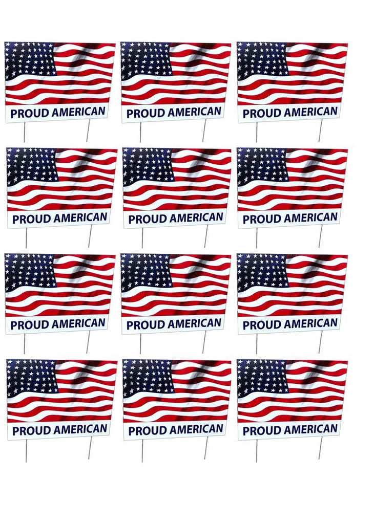 Aahs Engraving (Set of 12) Home Novelty Yard Sign, 16 X 12 inches (Proud American)