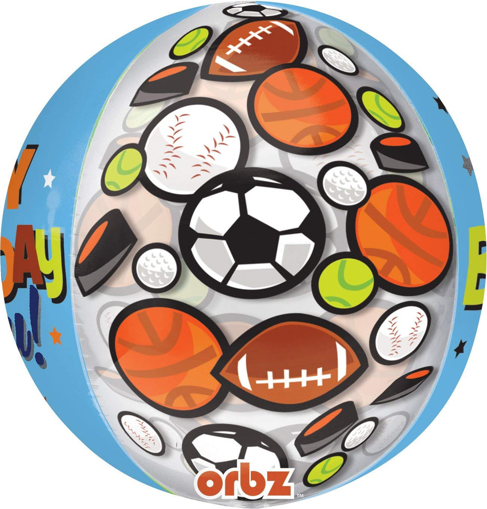 "Anagram International Happy Birthday to You Sports Orbz Balloon, 16"", Multicolor"