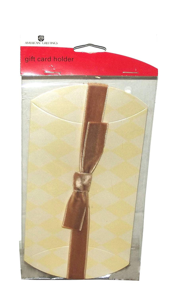 American Greetings Harlequin Pattern Shiny Gift Card Holder with Velour Ribbon, 1 count, 4 X 3.5 inches