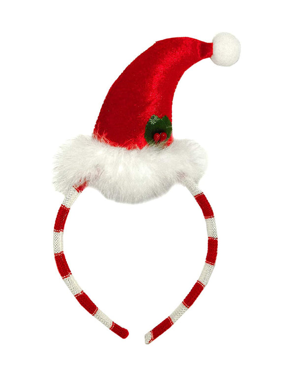Plush Santa Hat Headband with Plush Feathers