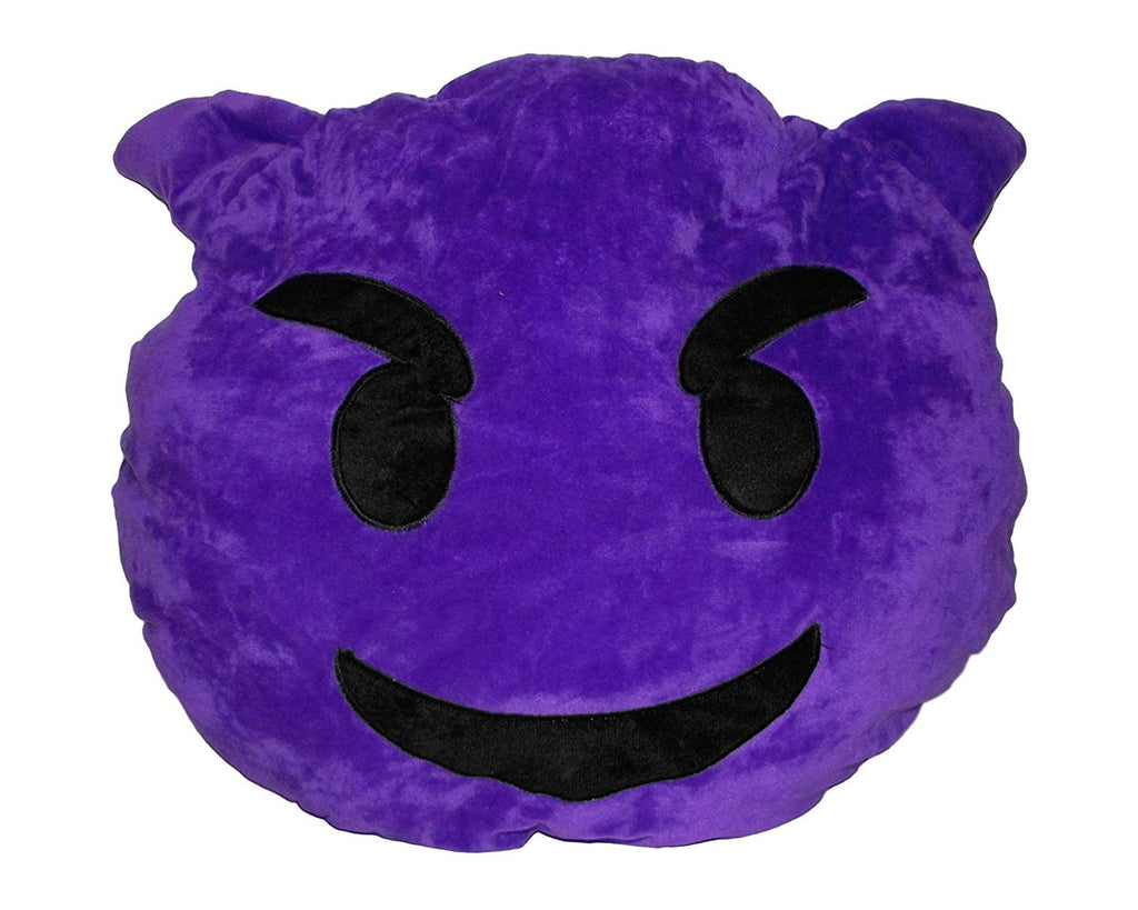 "15"" Emoji Throw Pillow (Purple Devil)"